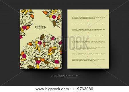 autumn leaf ornament vector brochure template. Flyer Layout