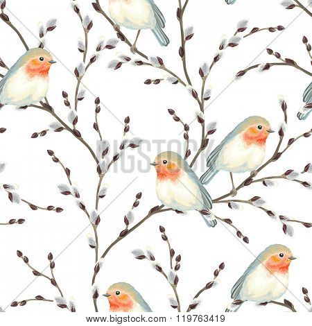 Seamless pattern of Willow branches and birds Robin, vector illustration on white background.