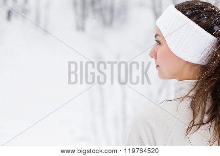 Sport Woman Running In Winter.