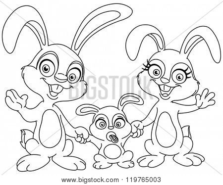Outlined bunnies family