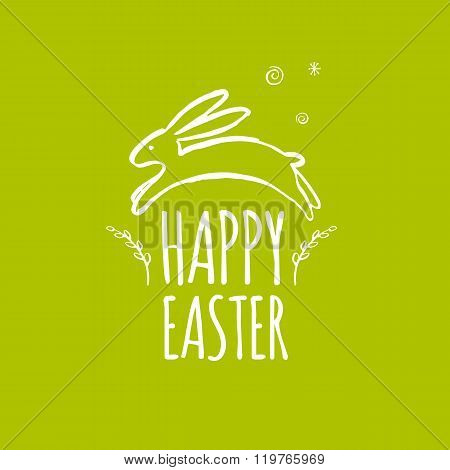 Template design Easter card with Easter bunny