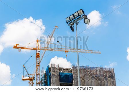 Floodlight In Construction Site