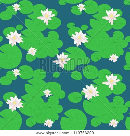 Pink lotuses in the pond. Seamless lily pattern.