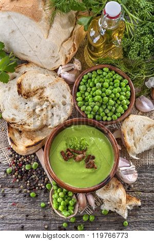 Potage soup made from fresh domestic peas with spices