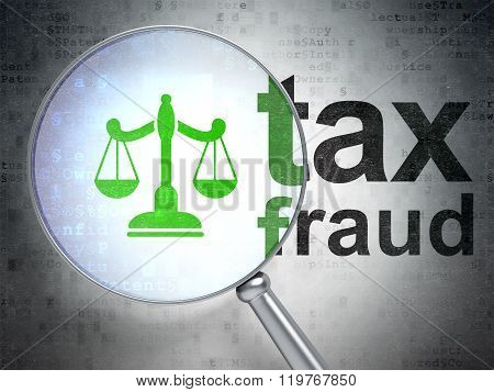 Law concept: Scales and Tax Fraud with optical glass