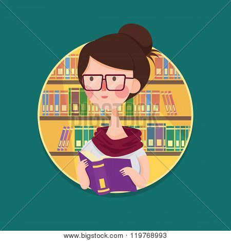 College Girl Student Studying in Library