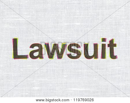 Law concept: Lawsuit on fabric texture background