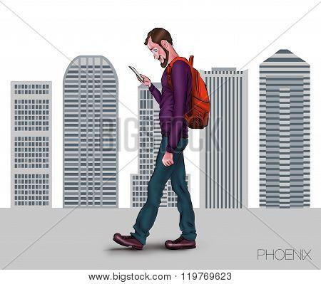 Illustration For Presentation Of Mobile App