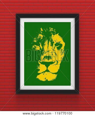 Frame with lion. Rasta concept. Hand drawn. Jpeg version