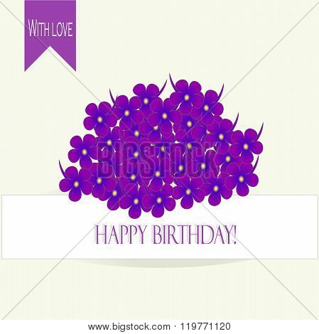 Greeting card Happy Birthday! A bouquet of purple, blue violet with yellow center on white backgroun