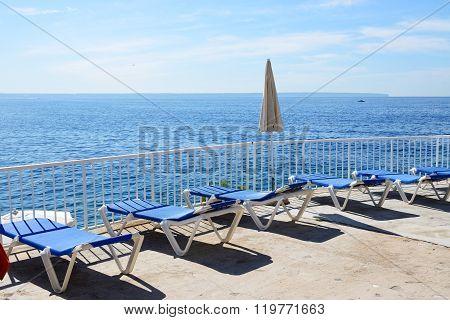 The Sea View Terrace At Luxury Hotel, Mallorca, Spain