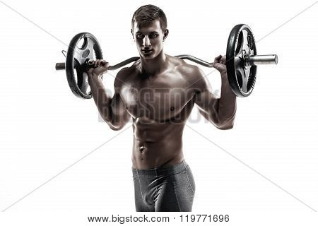 Strong man exercising fitness body building exercises with a barbell