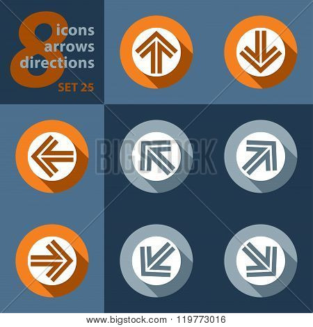Set Of Eight Icons - With Arrows
