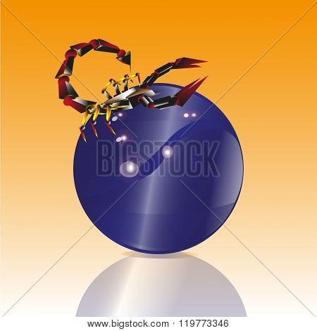Illustration of a red scorpion on a blue balloon