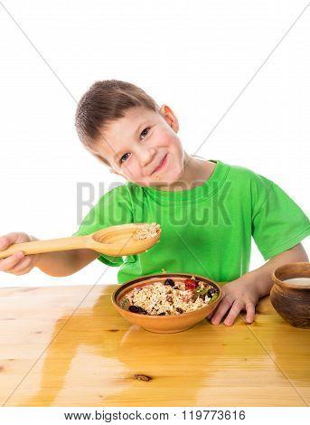 Funny Boy Eating Oatmeal