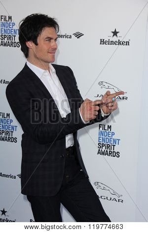 LOS ANGELES - FEB 27:  Ian Somerhalder at the 2016 Film Independent Spirit Awards at the Santa Monica Beach on February 27, 2016 in Santa Monica, CA
