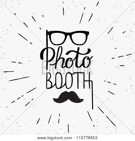 Photo booth hand written lettering design in hipster style