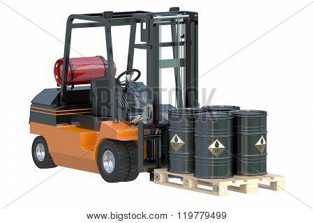 Forklift Truck With Oil Barrels