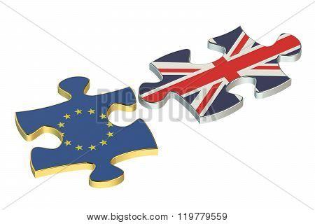 Great Britain And Eu Puzzles, Brexit Referendum Concept