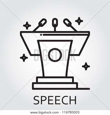 Black flat Line vector icon with a picture of speech as tribune