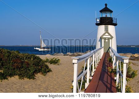 Brant Point Lighthouse Guides Mariners on Nantucket Island