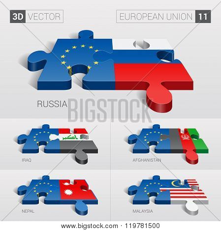 European Union Flag. 3d vector puzzle. Set 11.