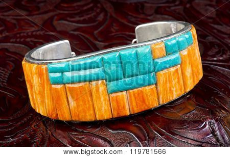 Spiny Oyster And Turquoise Bracelet.