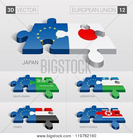 European Union Flag. 3d vector puzzle. Set 1