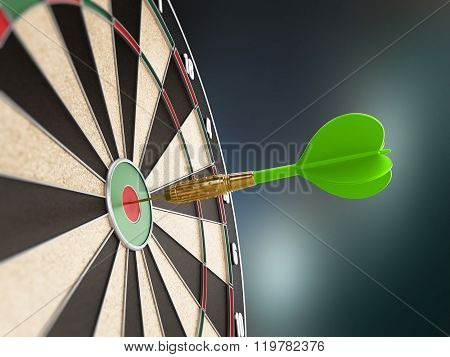 Green Dart Hitting The Target Bull's Eye