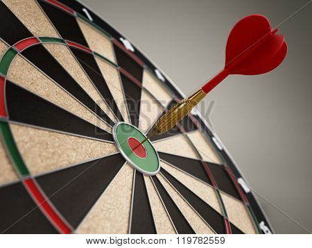 Red Dart Hitting The Target Bull's Eye