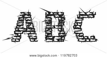 High Detailed Black Empty Decorative Aggressive Brick Styled Vintage Font. Letters A, B, C. Vector I
