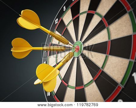 Yellow Darts Hitting The Target Bull's Eye