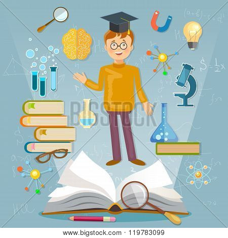 Education Back To School Student Studying School Subjects Vector Illustration