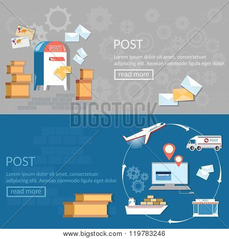 Post Services Banners International Delivery And Logistic Parcels