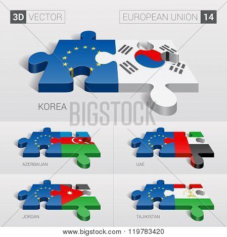 European Union Flag. 3d vector puzzle. Set 14.