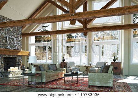 Luxurious open floor cabin interior family room design with candle lit stone fireplace and winter sc