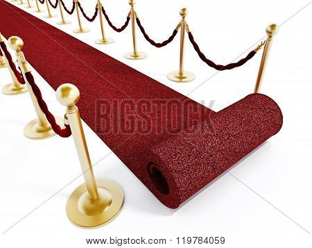 Rolled red carpet and velvet ropes isolated on white background