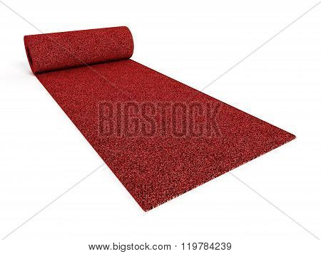 Rolled up red carpet isolated on white background