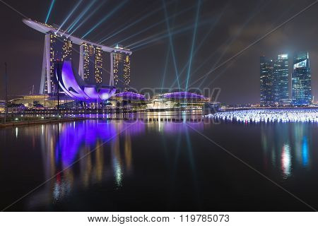 Marina Bay Sands, Spectacular And Futuristic Lighting Display On The Water Front.