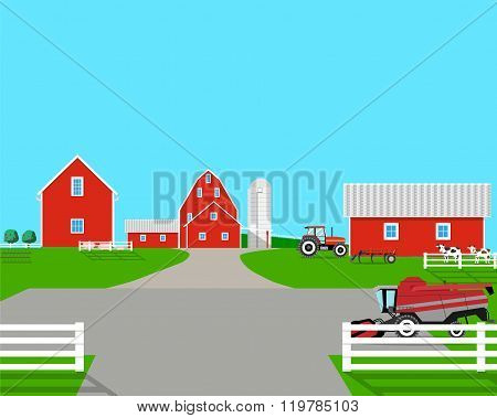 Landscape with a view of the farm buildings and machinery with cattle in a pen. Vector illustration