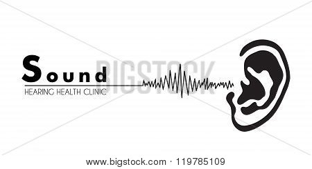 Human ear & audio wave vector illustrationvector sgn