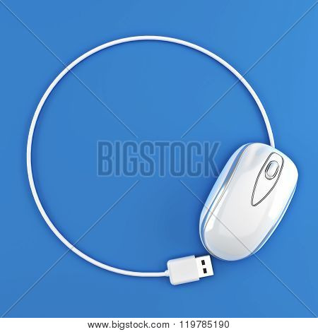 White mouse in the shape of a circle with room for your text or copy space advertisement on a blue b