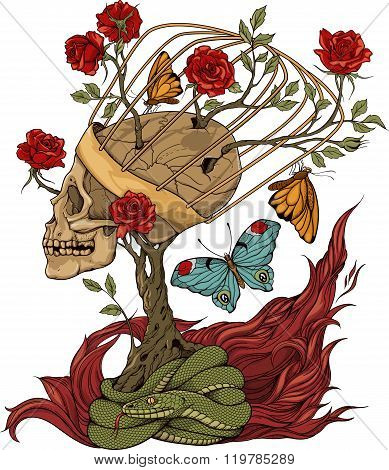 skull, bush of roses, snake and flame