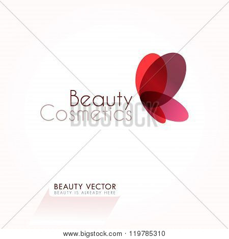 Red Butterfly vector sign template