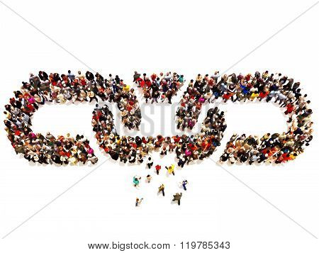 Large group of people forming a chain with a few forming the missing link.