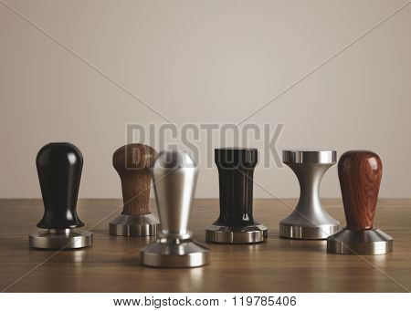 Various Coffee Tampers On Table Isolated