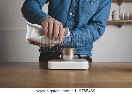 Roasted Coffee Beans Pours From Bag