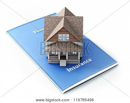 Home insurance concept . House sitting on an insurance brochure with a white background.