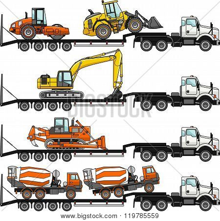 Set of auto transporter and heavy construction machines isolated on white background in flat style i