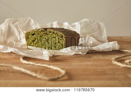 Closeup Spinach Bread Isolated On Board